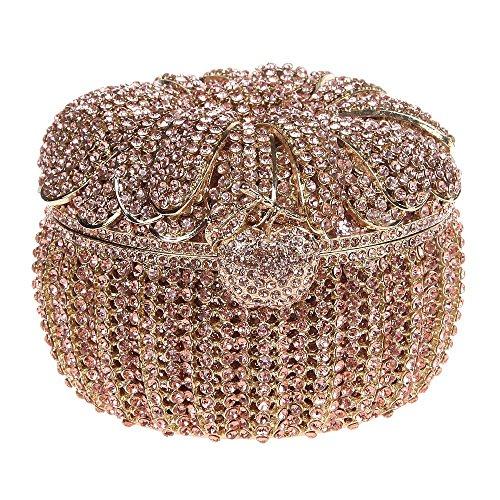 Damen Clutch Abendtasche Handtasche Geldbörse Luxus Funkelt Glitzertasche Kürbis Tasche mit wechselbare Trageketten von Santimon(3 Kolorit) Gelb