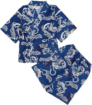 Amosfun - Kimono de algodón japonés para niños (100 cm), Color Azul Marino: Amazon.es: Ropa y accesorios