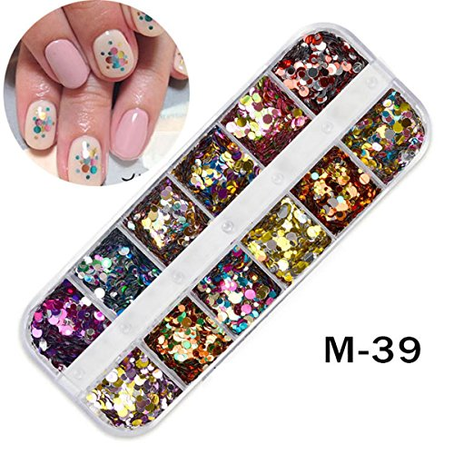 12 Grid Mix Color ROUND Shapes Confetti Sequins Glitter Laser Paillette Nail Art Decorations DIY Tips Acrylic Tips Nail Decorations