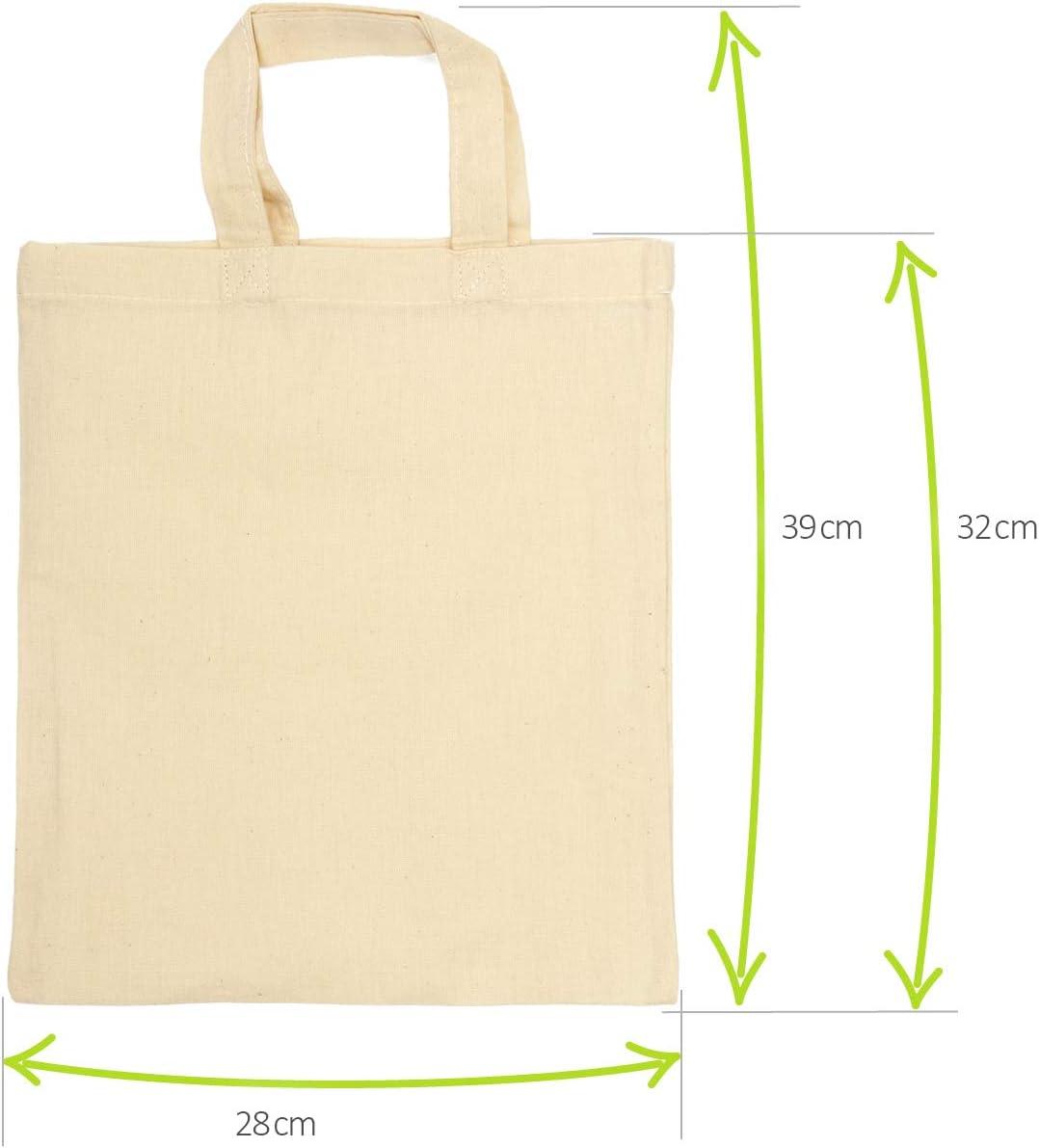 sin impresi/ón 12 Piezas - 22x26cm Oeko-Tex/® Standard 100 com-four/® 12x Bolsa de algod/ón Bolsa de Transporte Reutilizable Ideal para Pintar