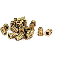 uxcell M6x15mm Interface Hex Socket Threaded Insert Nuts 20pcs for Wood Furniture