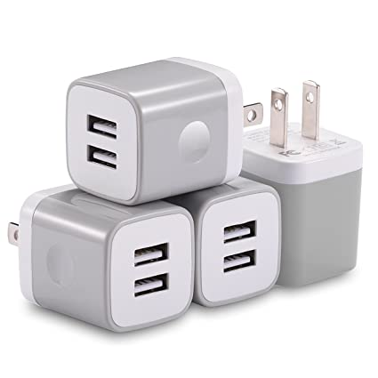 X-EDITION USB Wall Charger, 4-Pack 10.5W/2.1A Universal 2-Port USB Wall Plug Power Adapter for Phone X, 8/8 Plus 7/7 Plus, 6/6 Plus 6S, Pad, Samsung ...