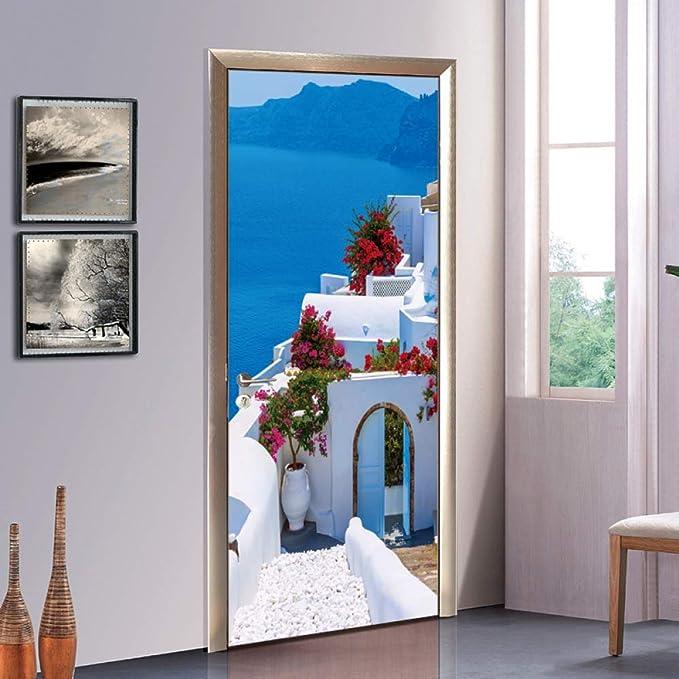 3D Puerta Pegatinas Estilo Griego Murales Decorativos Bricolaje Pared Pegatina-Puertas RenovacióN Auto Adhesivo Reposicionable Tela Mural para DecoracióN Casera, 77 * 200cm: Amazon.es: Hogar