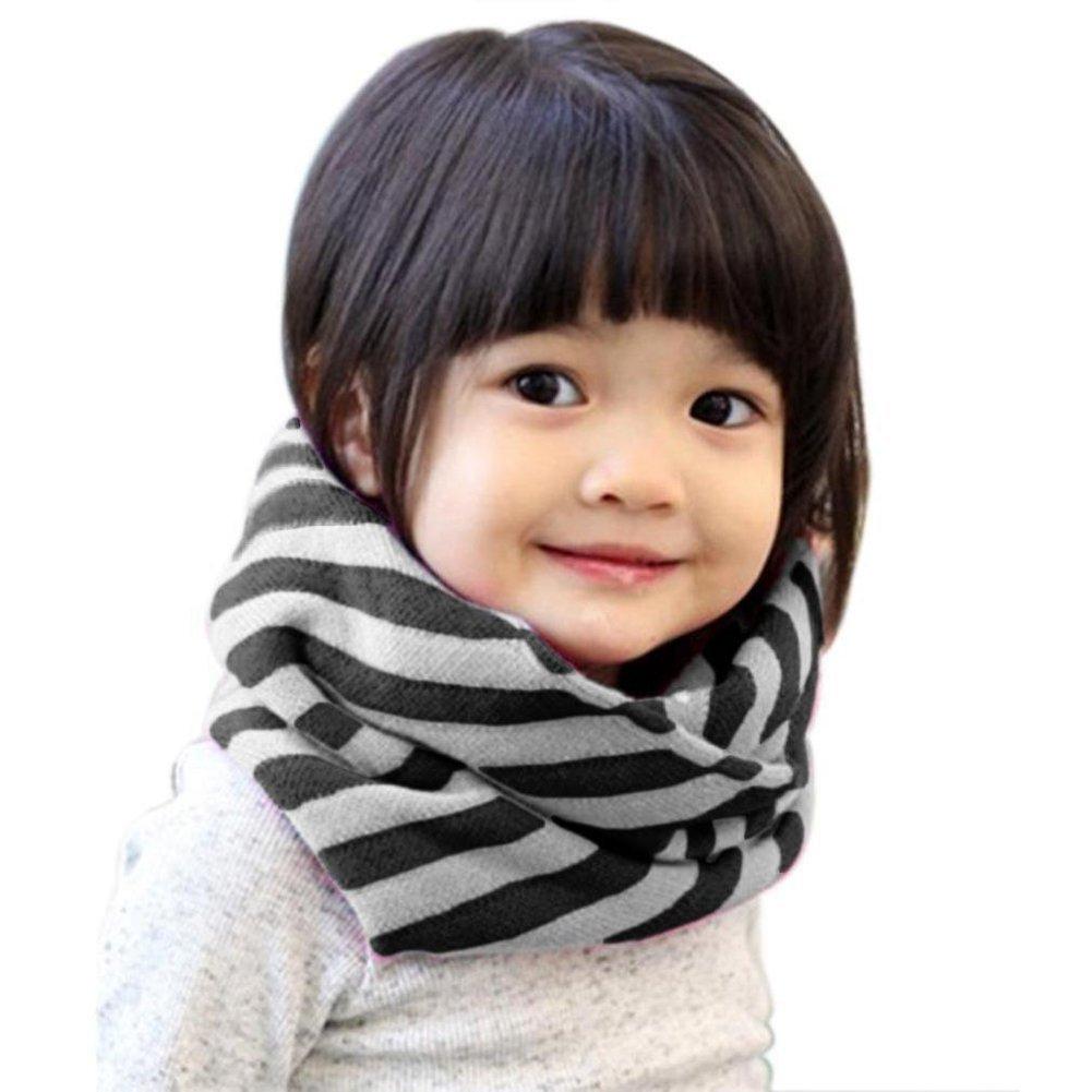 TININNA Inverno Classic strisce Infinity loop Sciarpa Sciarpe Collo Scalda Circle Sciarpa per bambini ragazzi Caffè
