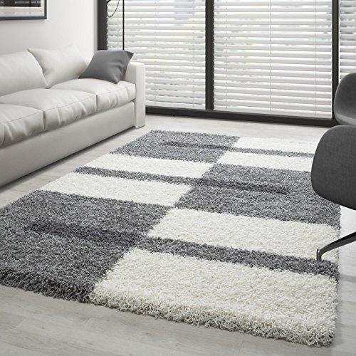 Shaggy Rug Long Pile Carpet designe multicolored - Grey-White-Lightgrey,...