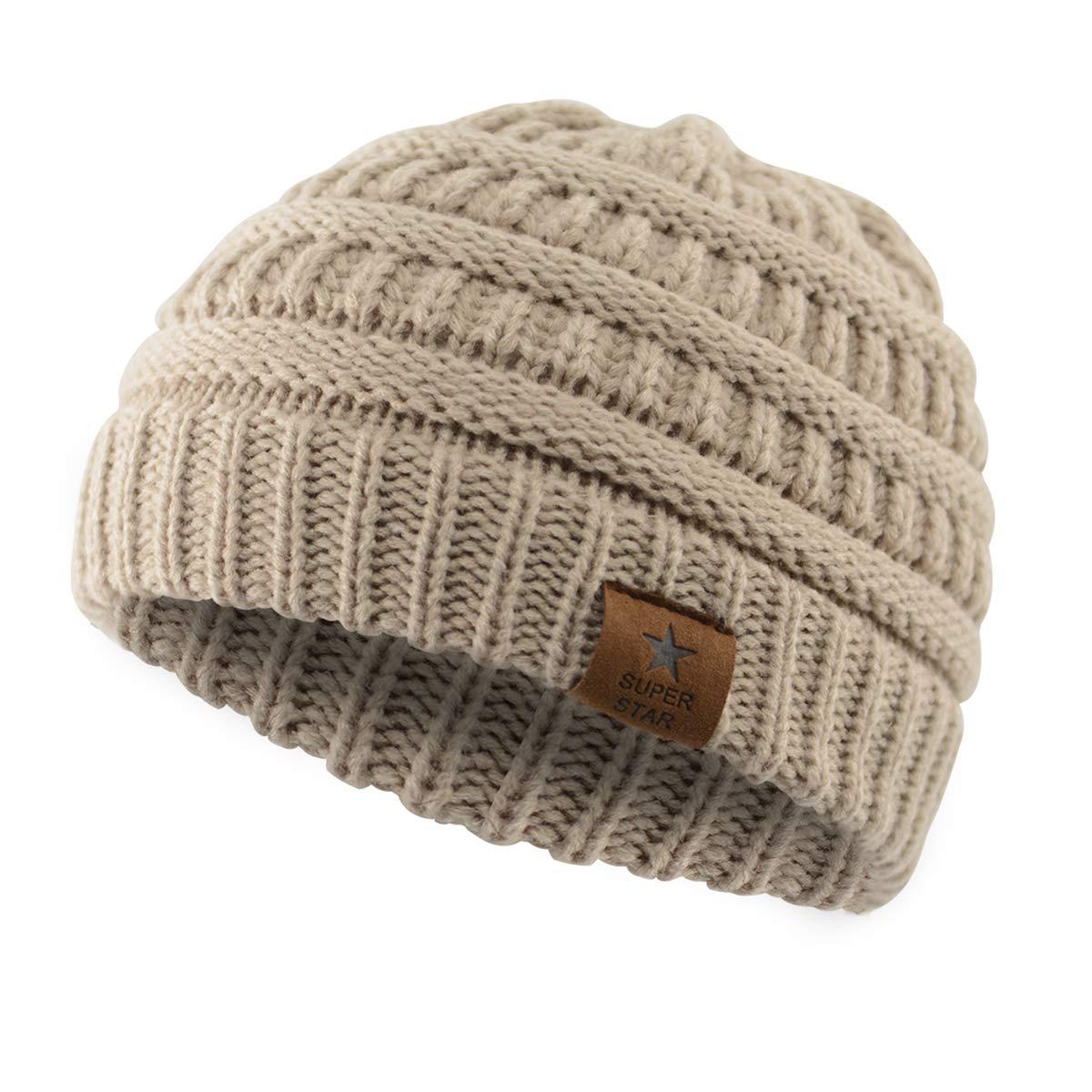 B 1 Pack Beige Durio Unisex Cotton Cute Infant Beanie Hat Toddler Baby Kids Cap Soft Warm Adjustable Boys Girls Hat