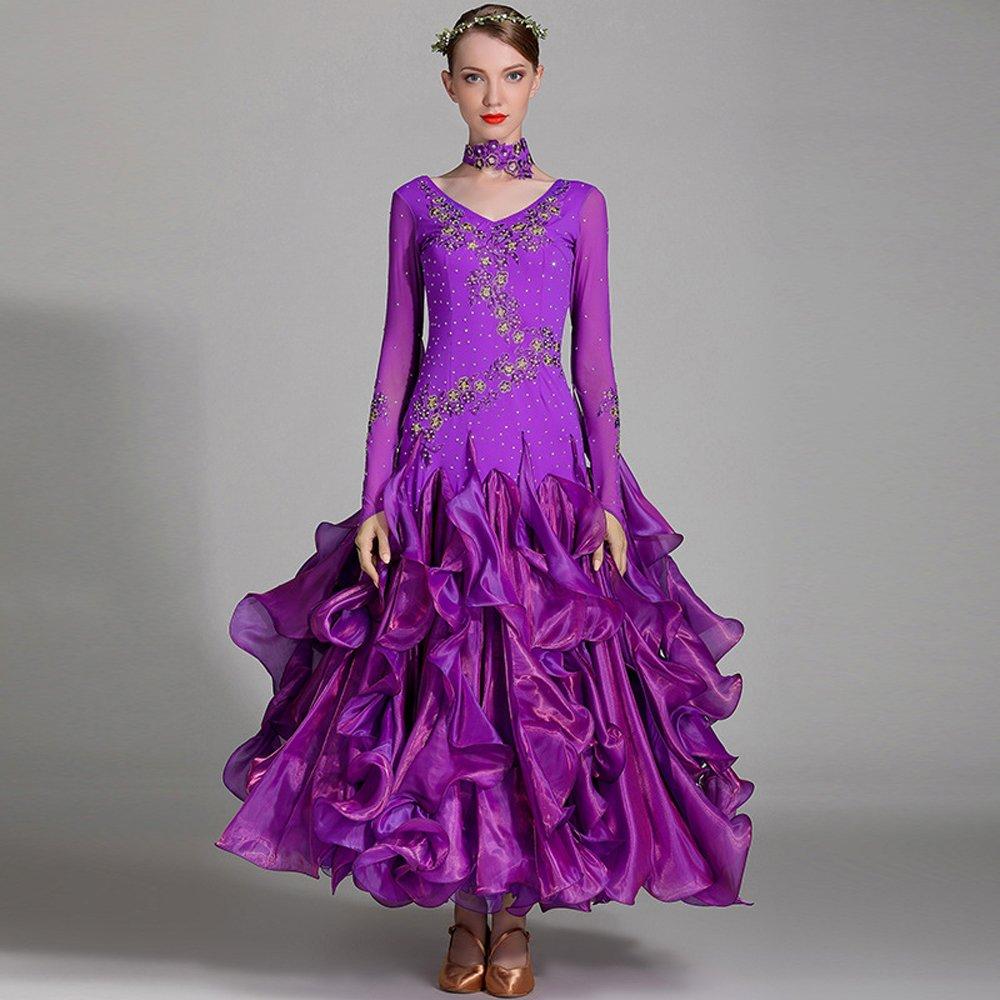 新品本物 モダンな女性の大きな振り子手刺繍モダンダンスドレスストラップタンゴとワルツダンスドレスダンスコンペティションスカート長袖ラインストーンダンスコスチューム Purple B07HHXDDVX XXL Purple Purple XXL Purple B07HHXDDVX XXL, ぎふけん:a16a49c0 --- a0267596.xsph.ru