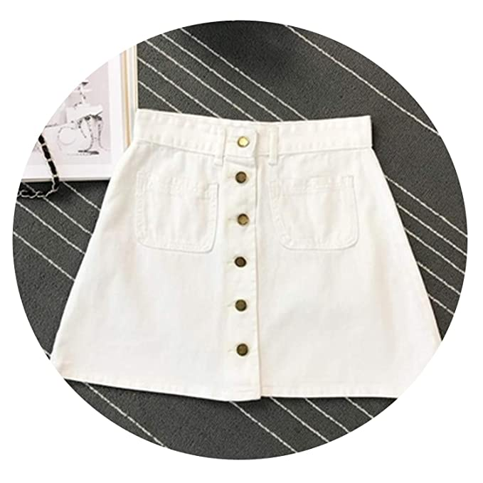 d039aa406 Image Unavailable. Image not available for. Color: little-leaf Spring Summer  Women Short A-line Button Skirt ...