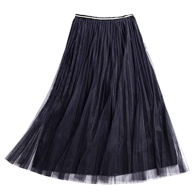 4eaf1f3c13 Womens Pleated A Line Tulle Skirt with Metallic Shiny Shimmer Lining and  Elastic High Waist (