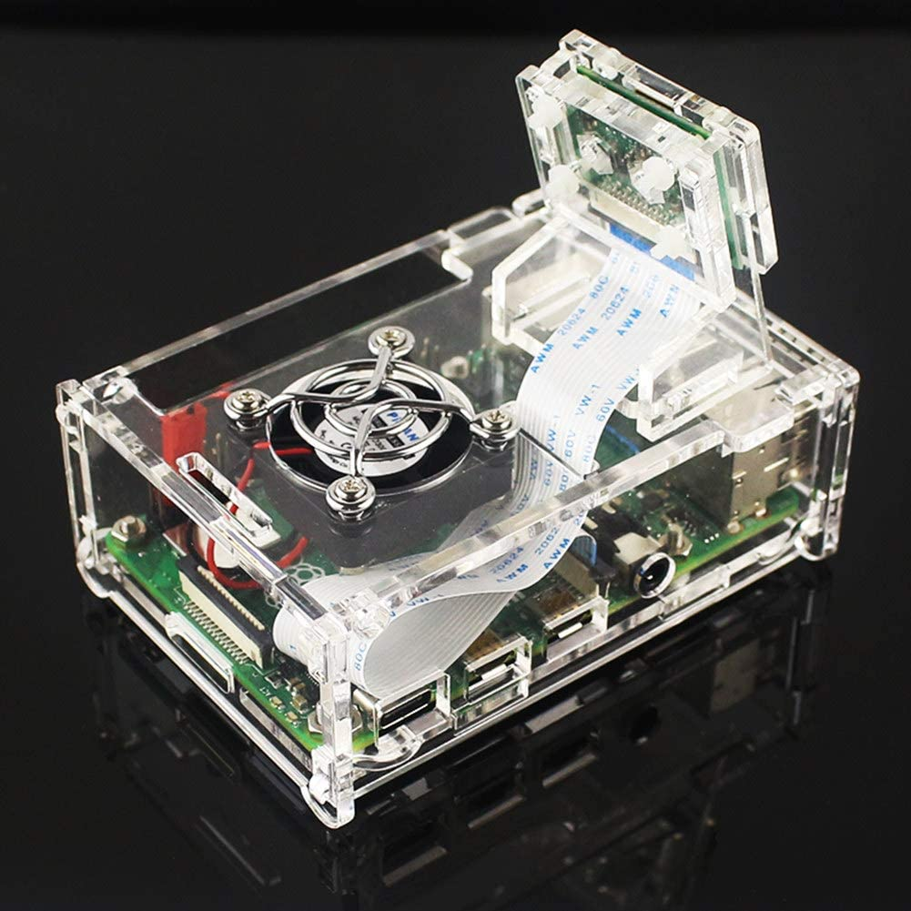 Meijunter Acrylic Case for Raspberry Pi 4 Model B Clear Cluster Housing Removable Cover Shell