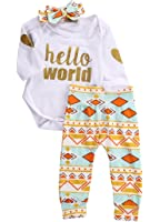 Newborn Baby Girls Top Rompers+Floral Pants Leggings Headband 3pcs Outfits Set
