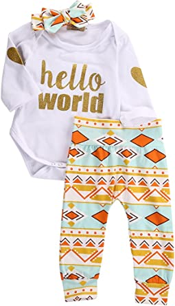 Newborn Baby Girls Floral Romper Top Jumpsuit Pants Headband Outfits Clothes Set