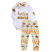 Newborn Baby Girls Top Rompers+Floral Pants Leggings Headband 3pcs Outfits Set (0-3 Months, Golden Hello World)