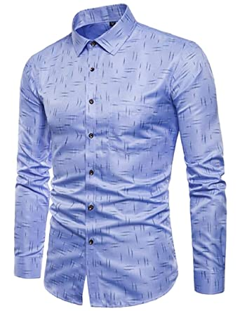 Yayu Mens Regular Fit Long-Sleeve Button Down Shirt with Pockets