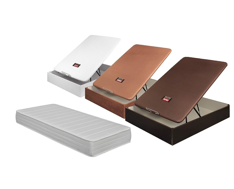 Pikolin - Colchón de látex de 21 cm y canapé abatible transpirable de madera, disponible en todas las medidas, no incluye montaje, color madera oscura, ...