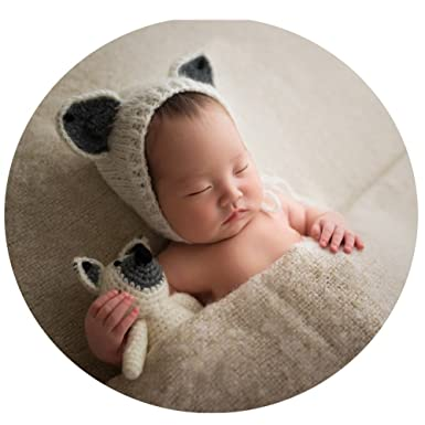 98e34da08 Image Unavailable. Image not available for. Color: Newborn Photography  Props Baby Photos Prop Infant Boy Girl Outfits Crochet Fox Hat Doll Set  White