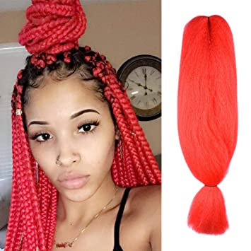 FASHION LADY Kanekalon Jumbo Braiding Hair 1Pcs/Lot red Braiding Hair  Extensions Kanekalon 48Inch African Hair Braiding 57G/pc Synthetic Straight