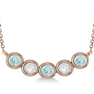 79999ef48faf63 Women's Diamond and Aquamarine 5-Stone Pendant Necklace 14k Rose Gold 2.00ct