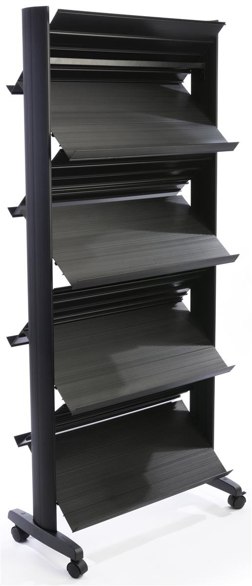 Displays2go ZMAG8S78 Portable Double Sided Magazine Rack with 8 Shelves (Black Plastic)