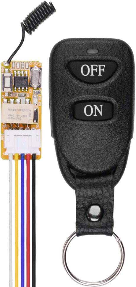 DC 5V 6V 9V 12V Wireless Control Switch 433mhz Remote Relay Latching Switch, 12V Long Range Remote Transmitter and Receiver for Indoor and Outdoor Use