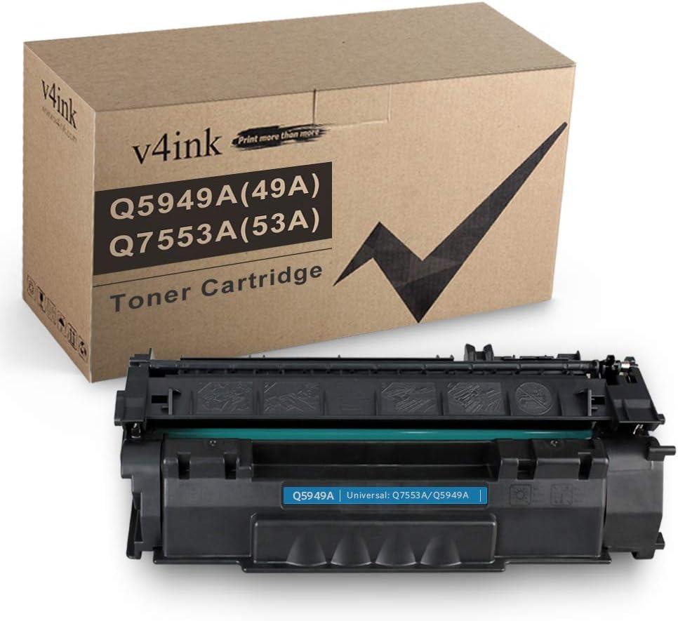 V4INK Compatible 49A 53A Toner Cartridge Replacement for HP Q5949A Q7553A for use with HP Laserjet 1320 1320n P2015dn P2015 P2015n 3390 3392 1160 P2014 M2727nf MFP Printer (Black,1 Pack)
