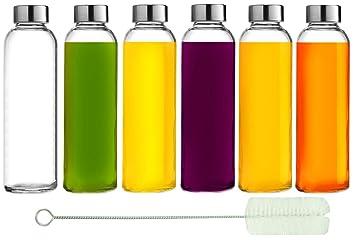 Botellas de Agua de cristal Brieftons: 6 unidades, 18 oz, acero inoxidable a