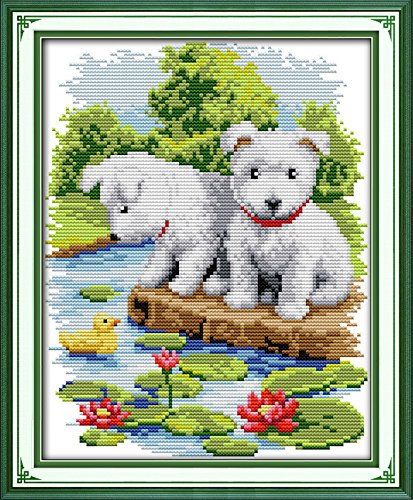 Joy Sunday Cross Stitch Kit 14CT Stamped Embroidery Kits Precise Printed Needlework - A small white dog 22×30CM Joy Sunday DIY Hancraft Inc D168
