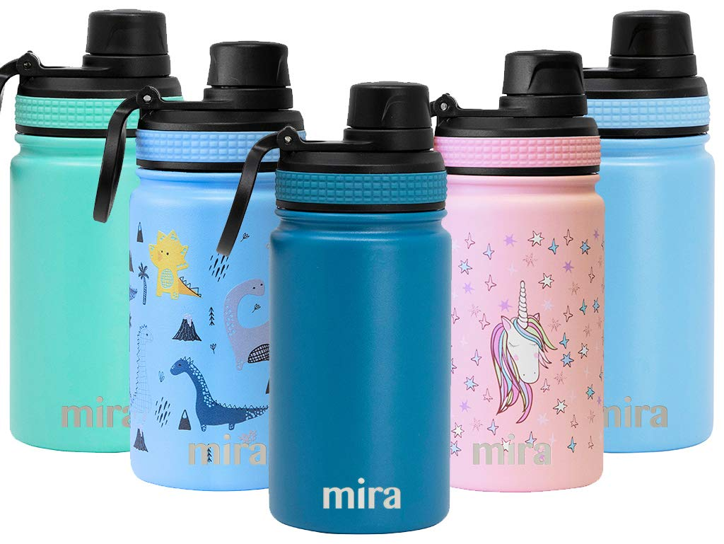 MIRA 12 oz Stainless Steel Sports Water Bottle | Metal Thermos Flask Keeps Cold for 24 Hours, Hot for 12 Hours | Wide Mouth & Double Wall Vacuum Insulated | BPA-Free Spout Lid Cap | Denim