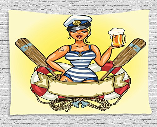 Ambesonne Girly Decor Collection, Pin-Up Sexy Sailor Girl in Lifebuoy with Captain Hat and Costume Glass of Beer Feminine Design, Bedroom Living Room Dorm Wall Hanging Tapestry, 80 X 60 (Private Pin Up Costumes)