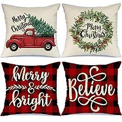 Christmas Farmhouse Home Decor AENEY Christmas Decorations Pillow Covers 18×18 Set of 4 Marry Bright Buffalo Plaid Christmas Pillows Winter Holiday Red… farmhouse christmas pillow covers