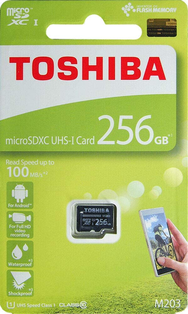 Toshiba M203, 256 GB, microSDXC Memoria Flash Clase 10 UHS-I - Tarjeta de Memoria (256 GB, microSDXC, 256 GB, MicroSDXC, Clase 10, UHS-I, 100 MB/s, Negro)