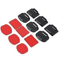 WOSOSYEYO 12 Piezas de Accesorios para Casco Montaje Adhesivo Plano Curvo para GoPro Hero 1/2/3/3 + (Color: Negro)