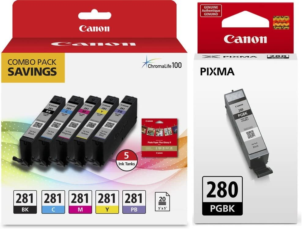 Genuine Canon CLI-281 5-Color Ink Tank Combo Pack with 5 x 5 Photo Paper (2091C006) Canon PGI-280 Pigment Black Ink Tank (2075C001)