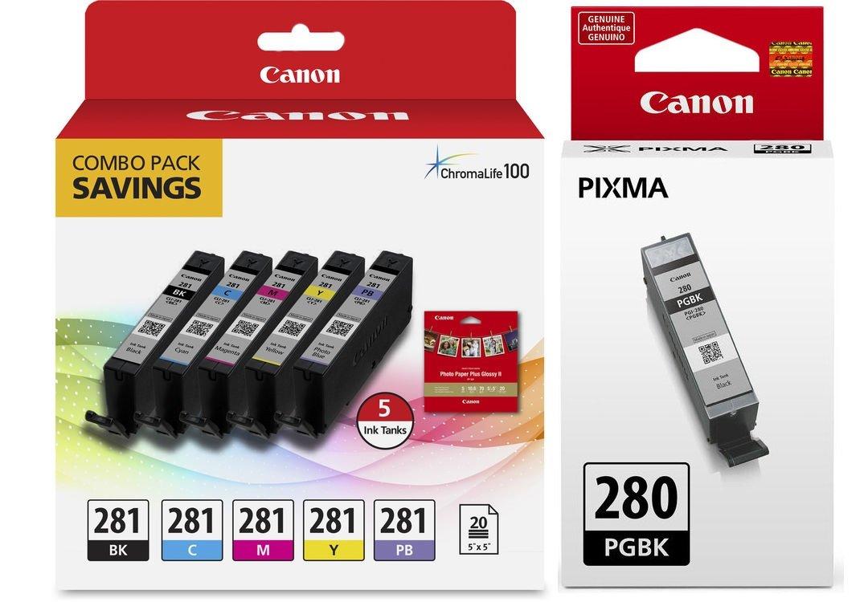 Genuine Canon CLI-281 5-Color Ink Tank Combo Pack with 5 x 5 Photo Paper (2091C006) + Canon PGI-280 Pigment Black Ink Tank (2075C001)