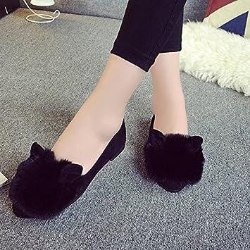 Y-Hui zapatillas de algodón, suela plana, zapatos de mujer superficial, mocasines