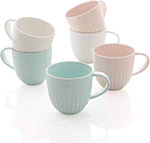ZEN Pleats Porcelain Coffee Mugs 14oz Set of 6 (Mixed Color)
