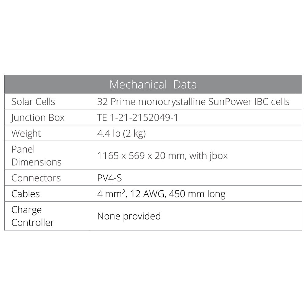 SunPower Flexible 100 Watt Monocrystalline Solar Panel by SunPower