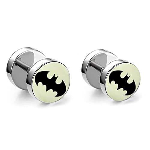 40e7806f2 Buy BatMan Acrylic Logo Stainless Steel Men's Ear Stud Silver Color Barbell  Earring Online at Low Prices in India | Amazon Jewellery Store - Amazon.in