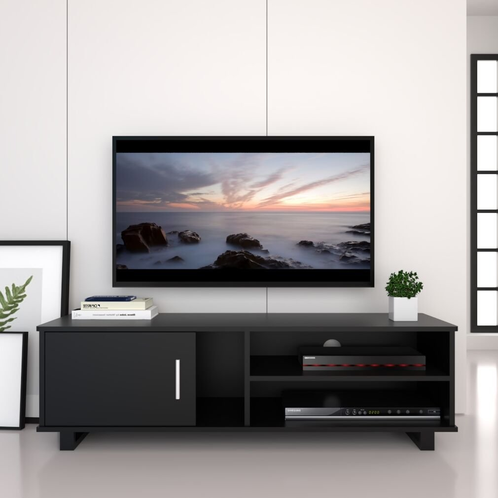 Ej. Life Wood TV Stand Storage Console, Black