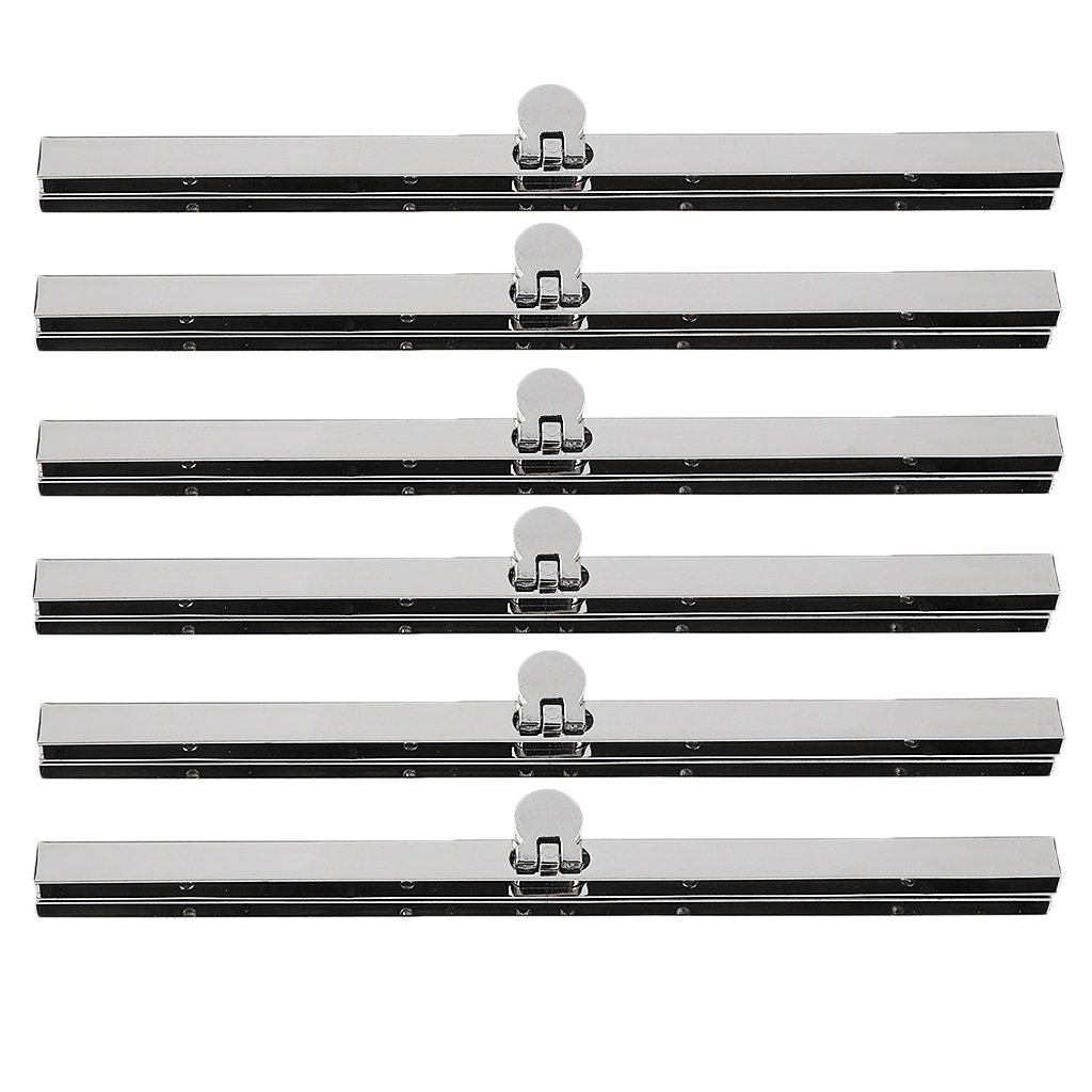MagiDeal 6x Alloy Purse Frame Wallet Clasp Fastening Handbag Making Supplies 7.48 inch - silver