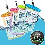 Sunny Tag Glow in Dark-Floating Waterproof Universal Phone Dry Bag Case, 4-Pack