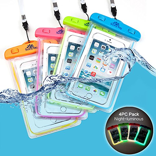 Vacation Tag - Sunny Tag Glow in Dark Floating Waterproof Universal Phone Dry Bag Case, 4 Pack Blue, Green, Pink, Orange