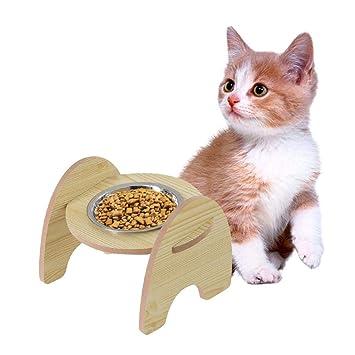 Hellycuche Estante de Madera Food Bowl y tazón de Acero Inoxidable para el comedero de Mascotas