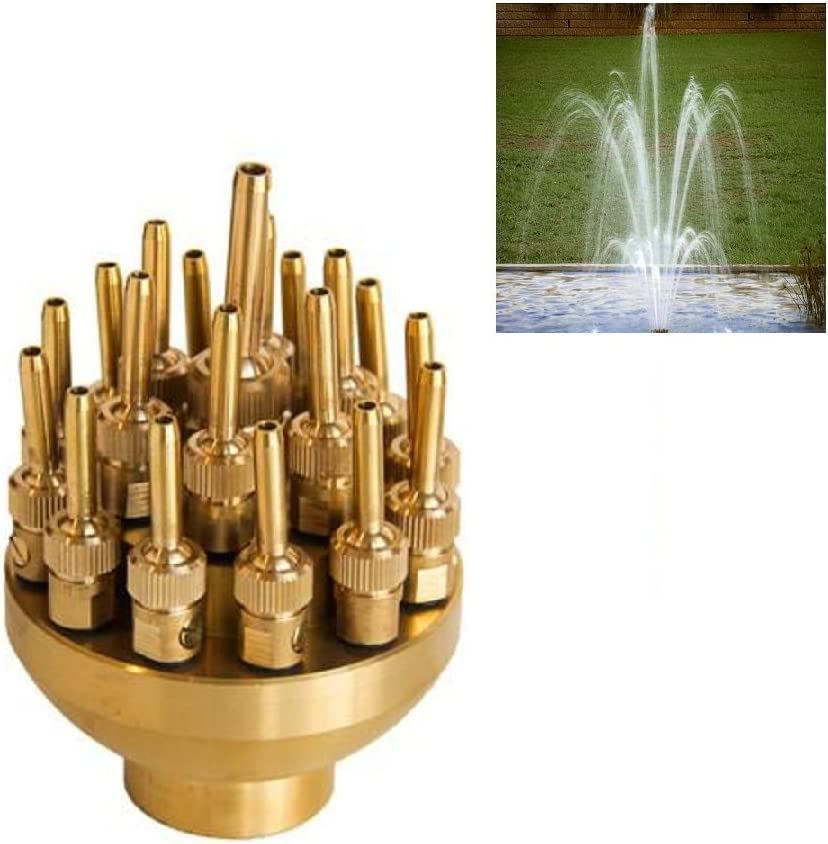 "NAVADEAL 2"" DN50 Brass 3 Tier Adjustable Water Fountain Nozzle Spray Pond Sprinkler - for Garden Pond, Amusement Park, Museum, Library"