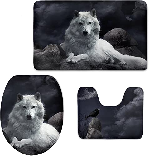 CHAQLIN 3 Pcs Set Animal Bathroom Rug Contour Mat Tank Top Lid Covers for Modern Home with Wolf Face