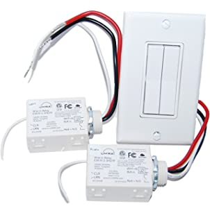 Wireless Light Switch Kit - Dual Rocker Switch & 2 Relays – BATTERY FREE