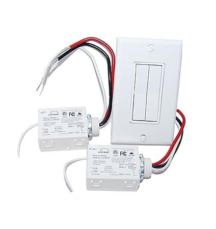 wireless light switch kit dual rocker switch 2 relays battery rh amazon com Light Pole with Two Wire Fan Switch On 2-Way Light Switch Wiring Diagram
