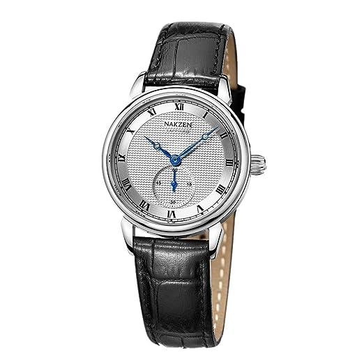 Relojes de Pulsera Núcleo De Cuarzo Simulado Clásico Retro Impermeable Simple Reloj De Señora Negro: Amazon.es: Relojes
