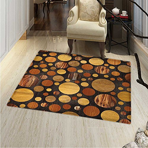Wooden Area Rug Carpet Brown Wood Textures Abstract Pattern Circles Timber Oak Natural Grain Style Art Print Living Dinning Room Bedroom Rugs 3'x4' Brown