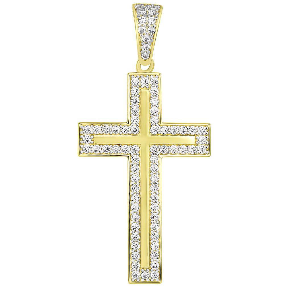 14k Yellow Gold Cubic Zirconia Elegant Traditional Latin Cross Pendant Necklace